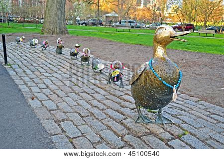 "Boston - Apr 20: Sculpture Of Ducks Tribute To Robert Mccloskeys Story ""make Way For Ducklings"" Was"