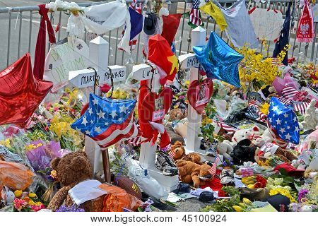 Boston - Apr 20: Memorial On Boylston Street In Boston, Usa On April 20, 2013.
