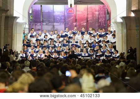 MOSCOW - MAY 19: Auditorium and night concert Academic big chorus of RSUH at metro stations Kropotkinskaya as part of Museum Night, on May  19, 2012 in Moscow, Russia.
