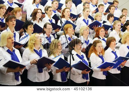 MOSCOW - MAY 19: Night concert of Academic big chorus of RSUH at metro stations Kropotkinskaya as part of Museum Night, on May  19, 2012 in Moscow, Russia.