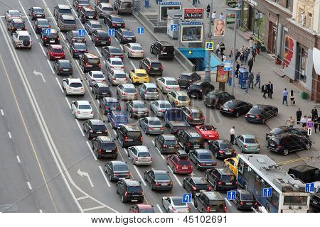 MOSCOW - MAY 15: Cars stands in traffic jam on Tverskaya, May 15, 2012, Moscow Russia. Moscow Mayor Sobyanin reconstructs suburban railways, building new roads to solve problem of traffic jams in 2016