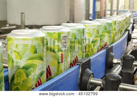 MOSCOW - MAY 16: Cans of mojitos on line in Ochakovo factory, May 16, 2012 in Moscow, Russia. Ochakovo company - it is largest Russian company beer and soft drinks industry without foreign capital.