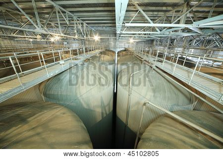 MOSCOW - MAY 31: Lot of cisterns for beer in Ochakovo factory, on May 31, 2012 in Moscow, Russia. Ochakovo aims to produce natural, useful, without any preservatives, artificial additives products.