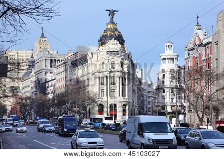 MADRID - MARCH 8: Edifisio Metropolis building, on March 8 2012 in Madrid, Spain. Tourist business - this is one of most important revenue Spanish GDP.