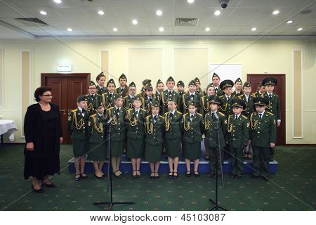 MOSCOW -  MAY 24: Military school cadets perform at International Conference of the Healthcare Industry Medicine 2012 in Hotel complex Radisson Slavyanskaya on May 24, 2012 in Moscow, Russia.