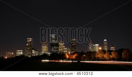 Downtown Houston noche Pano