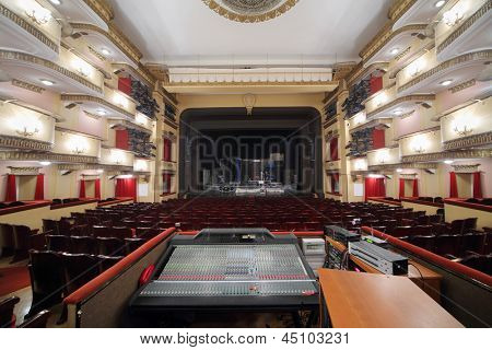 MOSCOW - APRIL 23: Auditorium and stage with packed decorations in Vakhtangov Theatre on April 23, 2012 in Moscow, Russia. Vakhtangov Theatre was established in 1921.