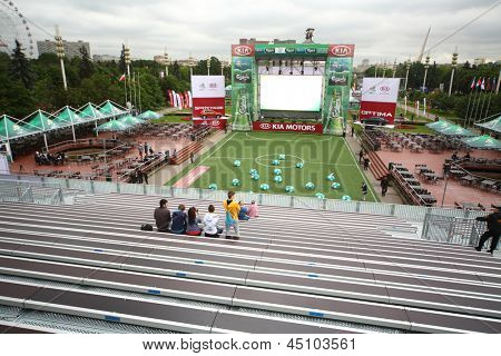 MOSCOW - JUN 8: Fanzone before match in All-Russian Exhibition Center on UEFA EURO 2012, on Jun 8, 2012 in Moscow, Russia