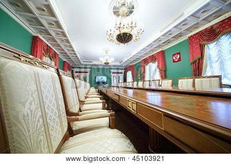 MOSCOW - APR 24: Chairs in Green Hall of guest annexe in Grand Kremlin Palace on Apr 24, 2012 Moscow, Russia. Five halls of Grand Kremlin Palace are used for state  receptions and official ceremonies.