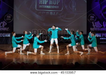 MOSCOW - APR 1: On stage band, called  United Bit Boys on Hip Hop International - Cup of Russia 2012 in The Palace of Culture MSTU named after Bauman on April 1, 2012 in Moscow, Russia.