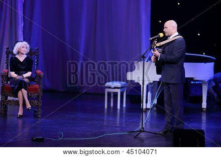 MOSCOW - APR 23 Alexey Kortnev sings at Ball Crystal Turandot, dedicated to anniversary of S.Nemolyaeva in Vakhtangov Theatre, Apr 23, 2012, Moscow, Russia. Nemolyaeva - Soviet and Russian actress.