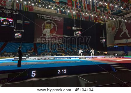 MOSCOW - APR 6: Spectators and athletes on championship of world in fencing among juniors and cadets, in Sports Olympic complex, on April 6, 2012 in Moscow, Russia