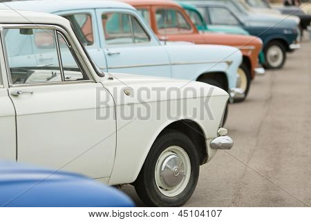 MOSCOW - JUN 8: Side view on the cars in Exhibition of Soviet vintage cars near the Ostankino TV tower on June 8, 2012 in Moscow, Russia.
