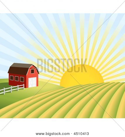 Farm And Fields At Sunrise