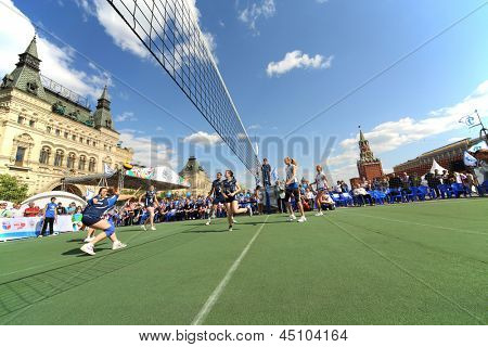 MOSCOW - MAY 26: Volleyball in full swing  on VIII Forum Ready for Labor and Defense on May 26, 2012 in Red Square, Moscow, Russia.