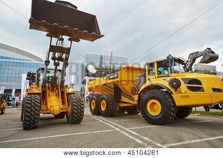 MOSCOW - MAY 29: Loader and articulated hauler VOLVO at 13th International Specialized Exhibition of Construction Equipment and Technologies 2012, May 29, 2012, Moscow, Russia.
