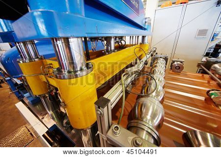 LOBNYA - JUN 7: Automated line for forming shaped metal sheets in manufacturing workshop at plant of Group of companies Metal Profile, June 7, 2012, Lobnya, Russia.