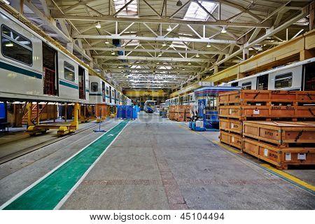 MYTISHCHI - APR 18: Shop floor at  Mytishchi Metrovagonmash factory, April 18, 2012, Mytishchi, Russia. The plant is famous for creating user-friendly subway cars.
