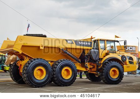MOSCOW - MAY 29: Volvo A40F articulated truck at 13th International Specialized Exhibition of Construction Equipment and Technologies 2012, May 29, 2012, Moscow, Russia.