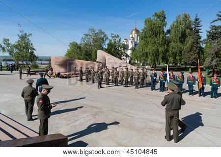SAMARA - MAY 5: Parade rehearsal before the Day of Victory in the Great Patriotic War on May 5, 2012 in Samara, Russia.