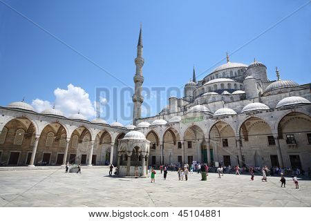 ISTANBUL - JUL 3: Center of place in Sultanahmet Mosque (Blue Mosque) in front of Hagia Sophia Museum in Istanbul on July 3, 2012 in Istanbul, Turkey.