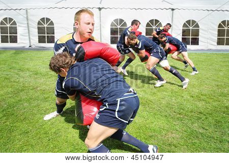 MOSCOW - JUNE 30: Athletes from Scotland train before second stage of European championship on rugby-7 in sports complex Luzhniki, on June 30, 2012 in Moscow, Russia.