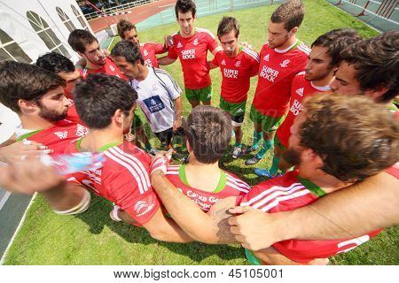 MOSCOW - JUNE 30: Rugby players team from Portugal on second stage of European championship on rugby-7 in sports complex Luzhniki, on June 30, 2012 in Moscow, Russia.