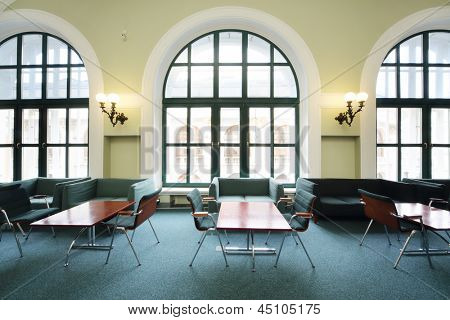 MOSCOW - MAY 23: Big windows in hall in Commerce and Industrial chamber of Russia, on May 23, 2012 in Moscow, Russia. Chamber of Commerce in Moscow began operations in 1922.