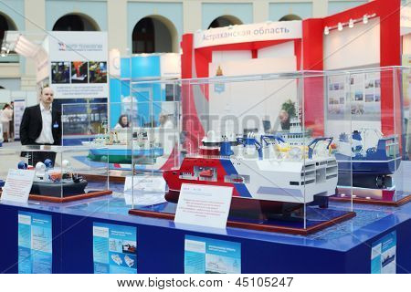 MOSCOW - MAY 23: Ship models for geological exploration at Russia Marine Industry Conference 2012 in Gostiny Dvor, on May 23, 2012 in Moscow, Russia.