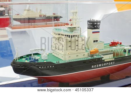 MOSCOW - MAY 23: Icebreaker Moskva model at Russia Marine Industry Conference 2012 in Gostiny Dvor, May 23 2012 Moscow Russia. Body of icebreaker designed for ice thickness traversed more than 1 meter