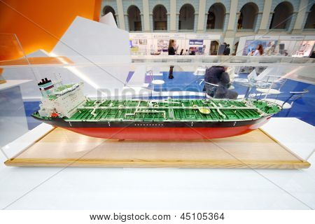 MOSCOW - MAY 23: Model of fuel tanker at Russia Marine Industry Conference 2012 in Gostiny Dvor, on May 23, 2012 in Moscow, Russia.