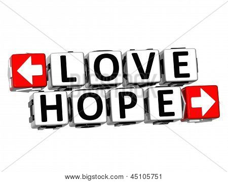 3D Love Hope Button Click Here Block Text