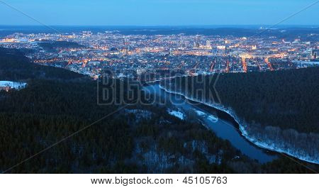 Vilnius City Night Aerial View
