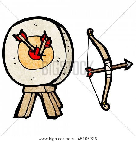 archery target and bow cartoon