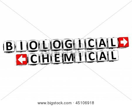 3D Biological Chemical Button Click Here Block Text