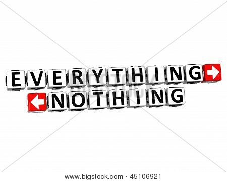 3D Everything Nothing Button Click Here Block Text