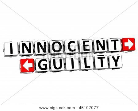 3D Innocent Guilty Button Click Here Block Text