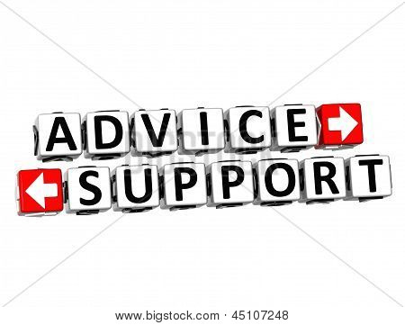 3D Advice Support Button Click Here Block Text
