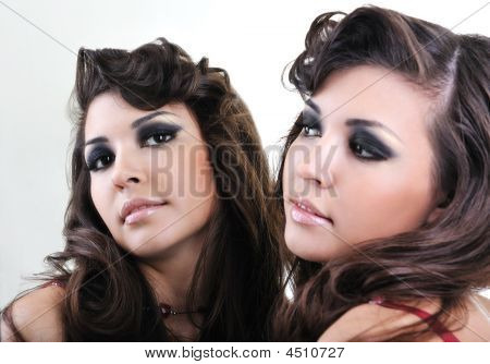 Woman Face Reflexion In Mirror