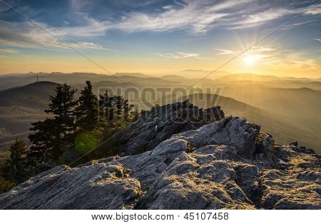 Grandfather Mountain Appalachian Sunset Blue Ridge Parkway Western Nc