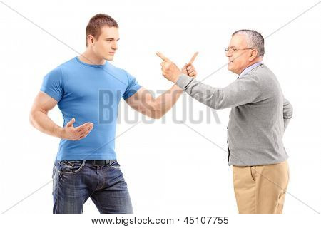 A guy and mature man arguing isolated on white background