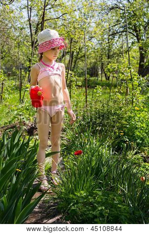 A girl with a watering pot helps to water the flowers.