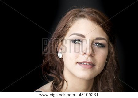 Young Woman With Beautiful Green Eyes