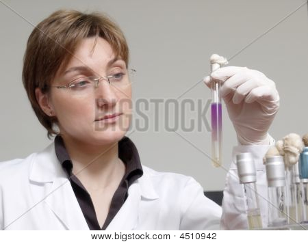Laboratory Technician With Specimen
