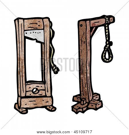 cartoon guillotine and gaols