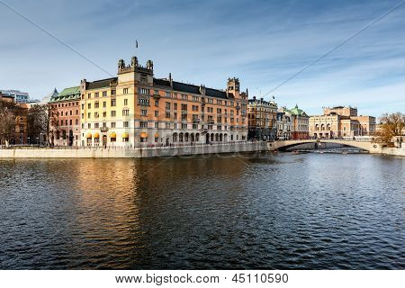 Stromgatan Embankment And Royal Opera In Stockholm, Sweden