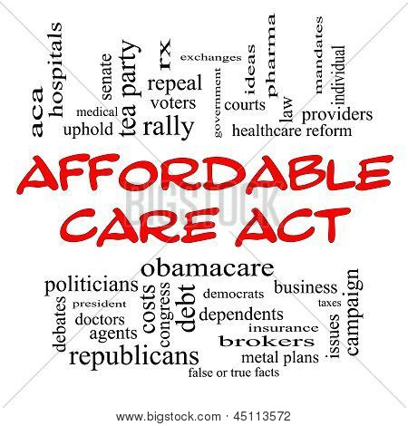 Affordable Care Act Word Cloud Concept In Red Caps