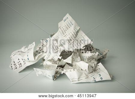Crumpled Calendar Sheets