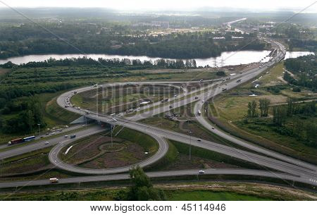 Road Junction On  Ring Road Of St. Petersburg, Aerophotography.