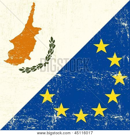 Cyprus and european grunge Flag flag of european union members
